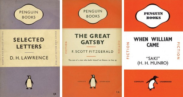 Jan-Tschichold-Selected-Letters-by-D-H-Lawrence-Left-The-Great-Gatsby-by-F-Scott-Fitzgerald-Center-When-William-Came-by-Saki-Right-photo-credits-Penguin-Thames-and-Hudson